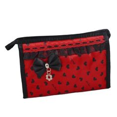 """Rosallini Travel Bow Heart Print Zip up Case Mirror Make up Cosmetic Bag Red Black by Rosallini. $5.55. Product Name : Cosmetic Bag;Material : Polyester, Nylon. Package Content : 1 x Cosmetic Bag. Bag External Size : 19.5 x 6 x 13cm/7.7"""" x 2.4"""" x 5.1"""" (L*W*H). Weight : 81g. Color : Red, Black. Interior: nylon lining, 2 plastic patch pockets, a zipper pocket, come with a mirror.Exterior: brown trim, heart pattern, letter fashion print, top zipper closure wit..."""