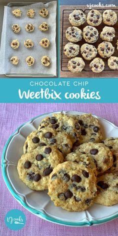Weetbix cookies Oat Cookies, Biscuit Cookies, Healthy Cookies, Biscuit Recipe, Chocolate Chip Cookies, Healthy Snacks, Healthy Recipes, My Recipes, Baking Recipes