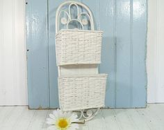 Vintage White Woven Wood & Wicker Wall Display  by DivineOrders, $17.00