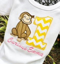 Girls Curious George with Age by lilshabebe on Etsy, $22.95