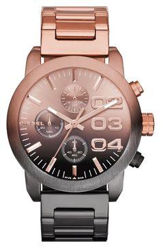 Women's DIESEL 'Flare' Chronograph Bracelet Watch, Rose Gold/ Gunmetal One Size. Stylish Watches, Luxury Watches, Cool Watches, Watches For Men, Cheap Watches, Nixon Watches, Unique Watches, Wrist Watches, Nordstrom