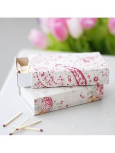 matchboxes made with fabric in paisley and Apple Blossom