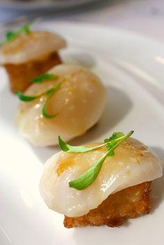 Scallop Sashimi, Chipotle Mayo, Crispy Rice
