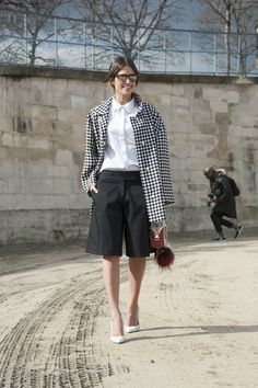 Helena Bordon in black and white with a borrowed-from-the-boys twist. #streetstyle at Paris Fashion Week Fall 2014 #PFW