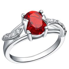 Sterling Silver Stunning Cute Oval Cut Garnet CZ Cocktail Ring Sz 6-9