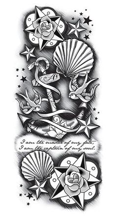 Black anchor sleeve temporary tattoo with graphics so realistic, you'll wish it…