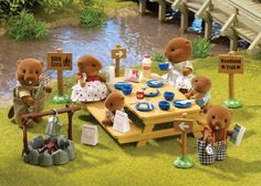 Sylvanian Families woodland picnic set and the Waters Beaver Family.