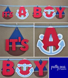 Cartel de baby shower estilo náutico | Manualidades para Baby Shower