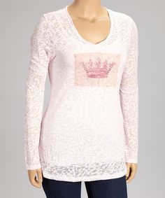Look what I found on #zulily! Pink Crown Burnout Top - Women & Plus by TROO #zulilyfinds