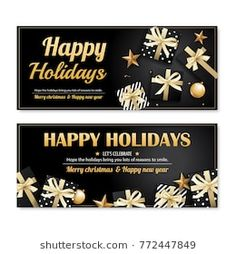 Invitation merry christmas party poster banner and card design template. Happy holiday and new year with black and gold ball for voucher coupon theme concept.