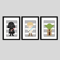 Star Wars wall art (3) 8x10 PRINTS. love this for a little boys room only $29 @Leah Crowther @Jennifer Miché @Jessica Kubie  My friend Amy made these! So cute!!