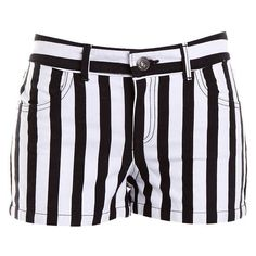 Pre-owned Women's BB DAKOTA Stripe/Black/White Shorts ($19) found on... ❤ liked on Polyvore featuring bottoms and bb dakota