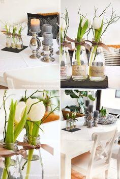 Einzelne Tulpen in flaschen