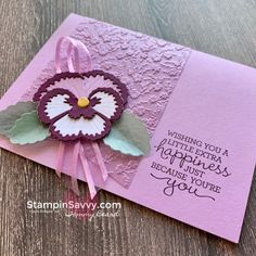 Color Contour, Ribbon Colors, Stamping Up, Flower Cards, Greeting Cards Handmade, Pansies, Stampin Up Cards, Favorite Color, Birthday Cards