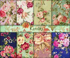 Vintage Roses Floral Digital Paper. Floral Download. Victorian Roses Decoupage Digital. Floral Digital Paper  Roses Background Download K-74 de Karoliks en Etsy https://www.etsy.com/es/listing/214251823/vintage-roses-floral-digital-paper