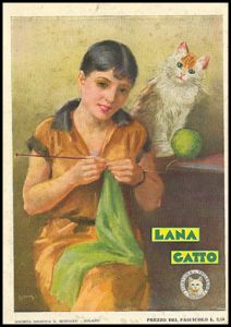Vintage LANA GATTO ad from Italy of a women knitting with a little help from her friend.