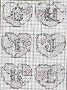 Abc Patchwork free cross stitch pattern part 2 Cross Stitch Alphabet Patterns, Embroidery Alphabet, Cross Stitch Letters, Cross Stitch Heart, Cross Stitch Designs, Stitch Patterns, Cross Stitching, Cross Stitch Embroidery, Marvel Cross Stitch