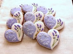 Gingerbread Hearts decorated with lavender icing with lavender design.