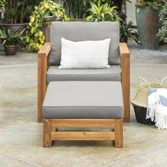 Antonia Outdoor Wood Patio Chair with Cushions Outdoor Lounge, Outdoor Chairs, Outdoor Furniture, Outdoor Decor, Furniture Ideas, Modern Furniture, Garden Furniture, Rustic Furniture, Furniture Design