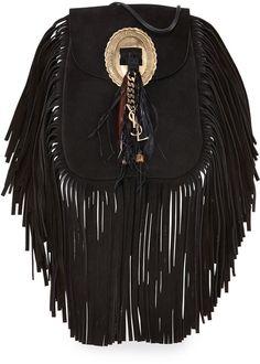 Saint Laurent Anita Small Suede Fringe Flat Bag, Black on shopstyle.com.au