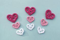 Decorative crochet hearts