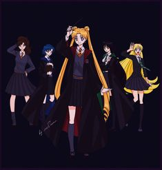 Sailor Moon x Harry Potter by lisGinka. I disagree with some of the sorting. Usagi should be in Hufflepuff along with venus