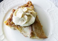 Warm Pear Ginger Upside-Down Cake with Amaretto Whipped Cream