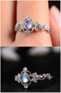 gorgeous antique art deco blue moonstone promise ring