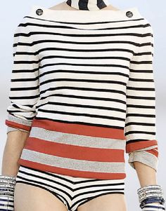 Chanel Cruise Collection 2009/2010 cashmere sweater in marine stripes.