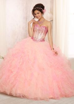 quinceanera dress from Vizcaya by Mori Lee Dress Style 88090 Ombre Beaded Bodice on a Two Tone Ruffled Tulle Ball Gown Skirt