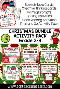 Let us save you time this Christmas Season with our Christmas Collection: a bundle of fantastic Christmas-themed ELA Resources! Reading, Writing, Spelling, Creative Thinking, and Public Speaking skills are all covered for a discounted price! Grade Three, Grade Four, Grade Five, Grade Six and Grade Seven are covered! CCSS aligned.