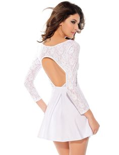 White Long Sleeve Back Cut Out Dress $12.90