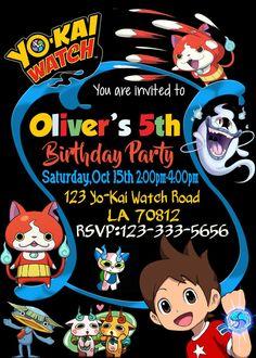 Invitación del cumpleaños de reloj yo Kai-Yo-Kai por DigidesignArt