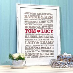 DIY wedding gift idea - same for baby shower (use full names of successful people)