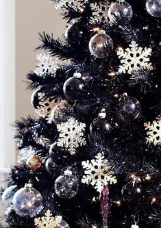 Treetopia - Tuxedo Black Artificial Christmas Tree I would want a black Christmas tree Black Christmas Tree Decorations, Black Christmas Trees, Purple Christmas, Snowflake Decorations, Winter Christmas, Christmas Holidays, Christmas Ornaments, Xmas Trees, Christmas Tree Colours