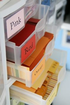 """Labeled drawers for scrap paper - Another """"why didn't I think of this"""" idea. Much more user friendly than the catch-all scrap box!"""