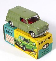 Corgi Toys 450 Austin Mini Van Scarce unpainted Austin Grill Pic. www.qualitydiecasttotoys.com