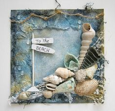 beachy tutorial from Swirlydoos uses bandage gauze and distress inks