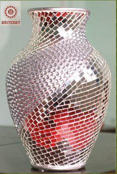 mirrored mosaic vases