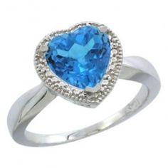 Swiss Blue Topaz Heart Shape Diamond
