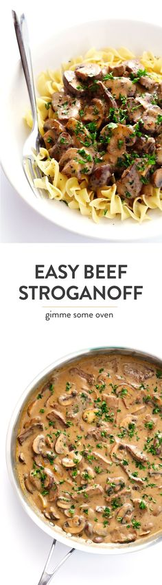 This 30-Minute Easy Beef Stroganoff recipe is overflowing with creamy steak and mushrooms, and it's so simple to make!  Feel free to serve it over pasta, rice, quinoa, veggie noodles, or whatever sounds good!