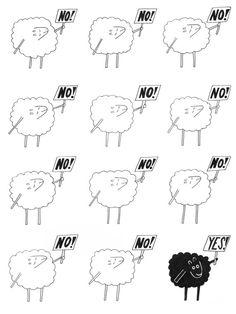 Black Sheep Cartoon  Black Sheep Print by TheDapperJackalope, $15.00