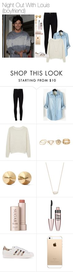 """Night Out With Louis (boyfriend)"" by fancyx1dniall ❤ liked on Polyvore featuring Frame Denim, pureDKNY, Eddie Borgo, Kendra Scott, Fresh, Maybelline, adidas Originals, love, NightOut and louistomlinson"