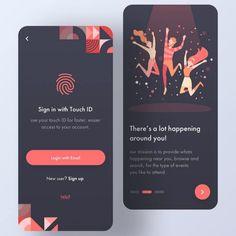 Web Design Mobile, Dashboard Design, App Ui Design, Flat Design, Design Design, Onboarding App, Event App, App Login, Mobile Ui Patterns