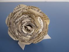 Handmade flowers upcycled from book pages.