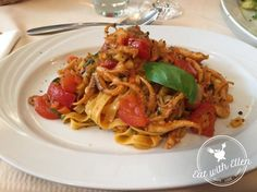 Delectably tender Octopus tagliatelle smothered in a sweet yet tangy tomato sauce, at La Valle Trattoria, Munich.