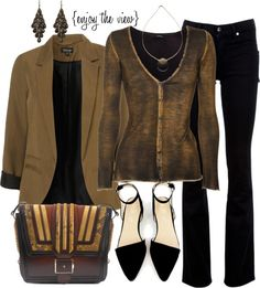 """Black & Brown contest entry #1"" by enjoytheview ❤ liked on Polyvore"