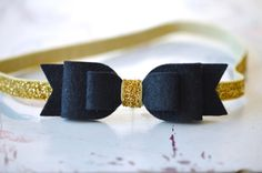 Black Felt Bow on Gold Glitter Elastic