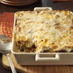 Baked Spaghetti Recipe -Every time that I make this cheesy dish, I get requests for the recipe. It puts a different spin on spaghetti and is great for any meal. The leftovers, if there are any, also freeze well for a quick dinner later in the week. Pastas Recipes, Potluck Recipes, Casserole Recipes, Beef Recipes, Great Recipes, Dinner Recipes, Cooking Recipes, Potluck Appetizers, Favorite Recipes