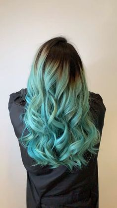 Turquoise Hair color - All For Hair Cutes Green Hair Ombre, Turquoise Hair Ombre, Ombre Hair Color For Brunettes, Dyed Hair Blue, Hair Color Blue, Dye My Hair, Ombre Hair Rainbow, Light Blue Hair Dye, Teal Hair Highlights